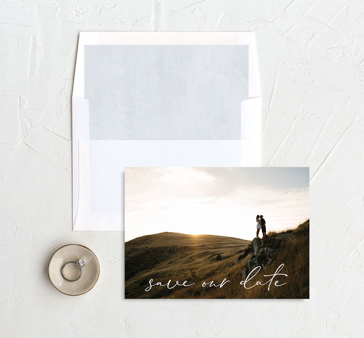 Minimal Brush save the date with liner blue