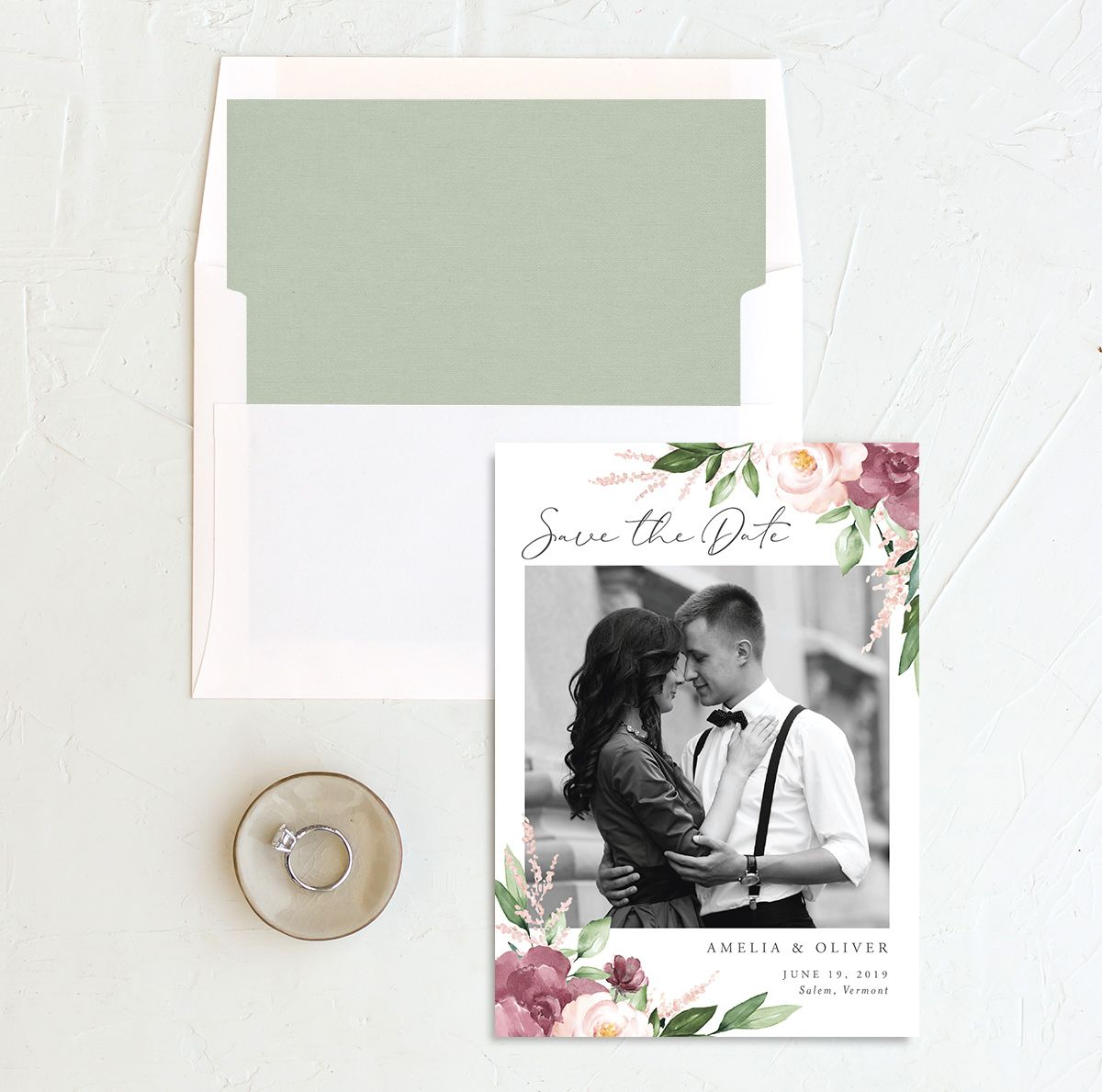 Beloved Floral Save the Date and Envelope Liner