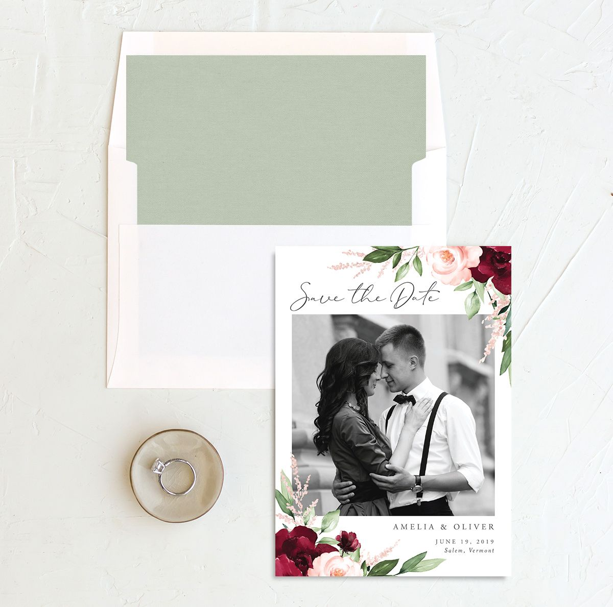 Beloved floral save the date with envelope liner