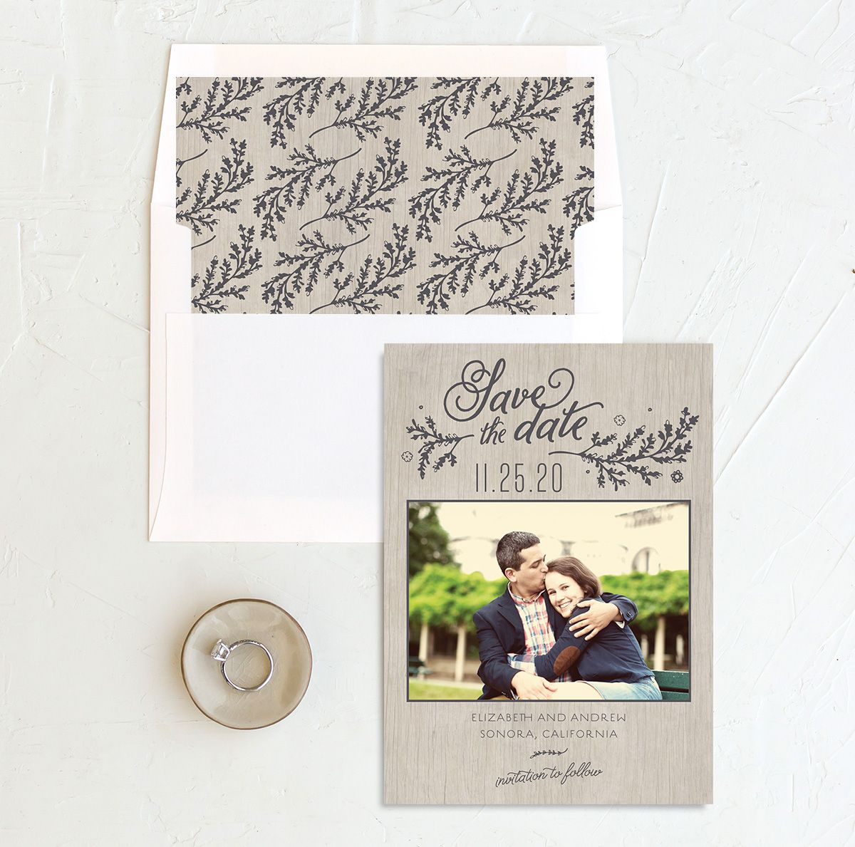 rustic chic wedding save the date in grey