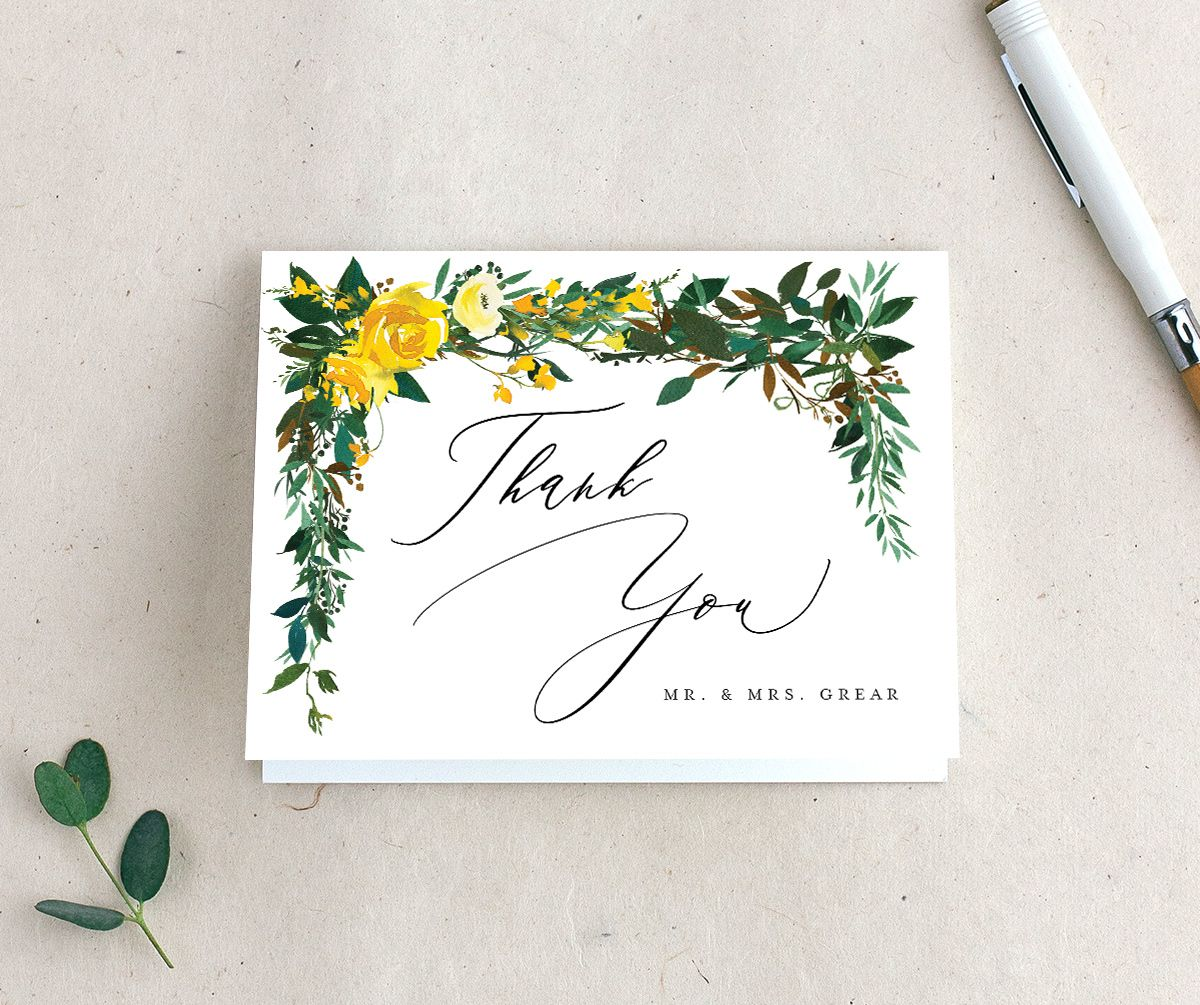 Cascading Altar Thank You Cards in yellow