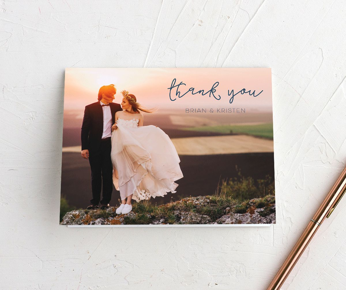 Gold Calligraphy photo thank you cards with blue text