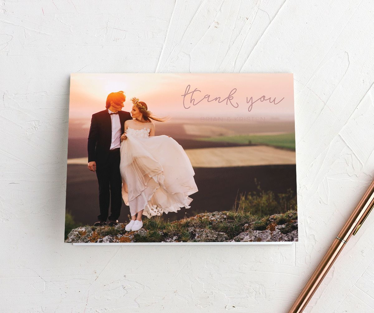 Gold Calligraphy photo thank you cards with pink text