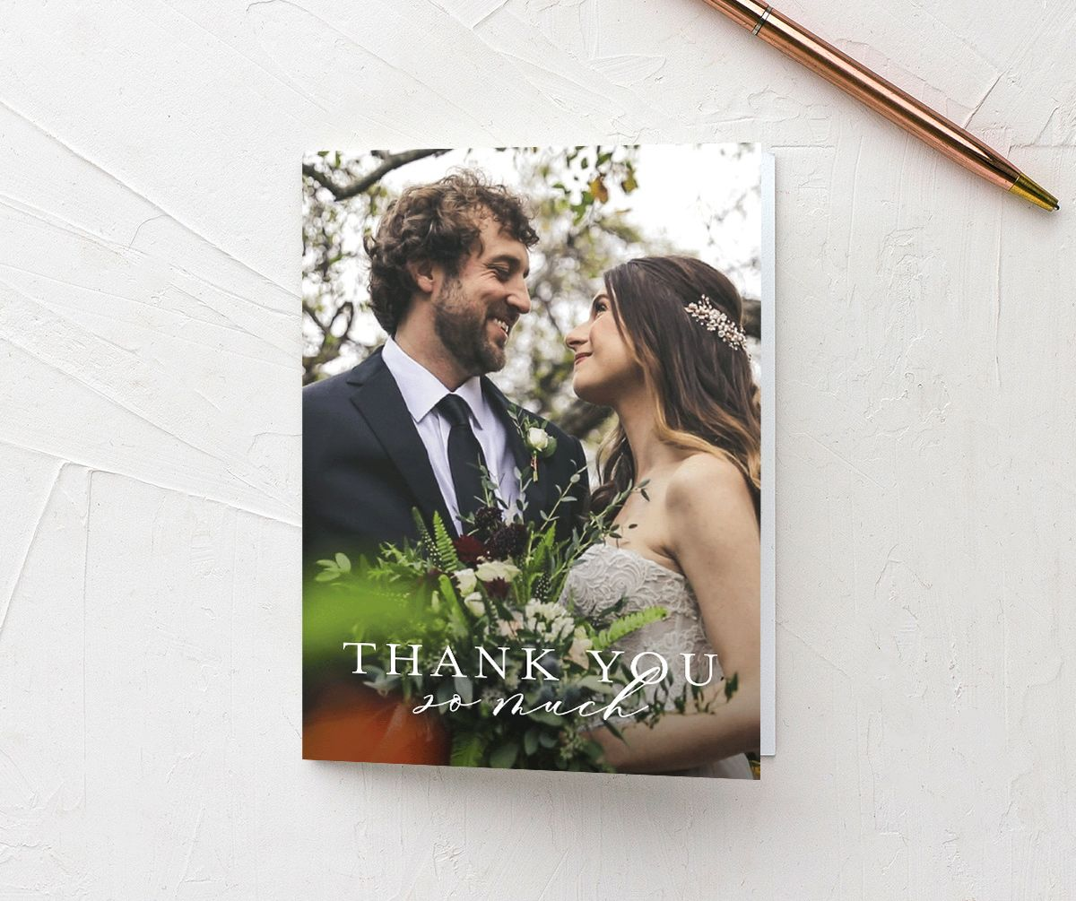 Natural Monogram photo thank you cards folded