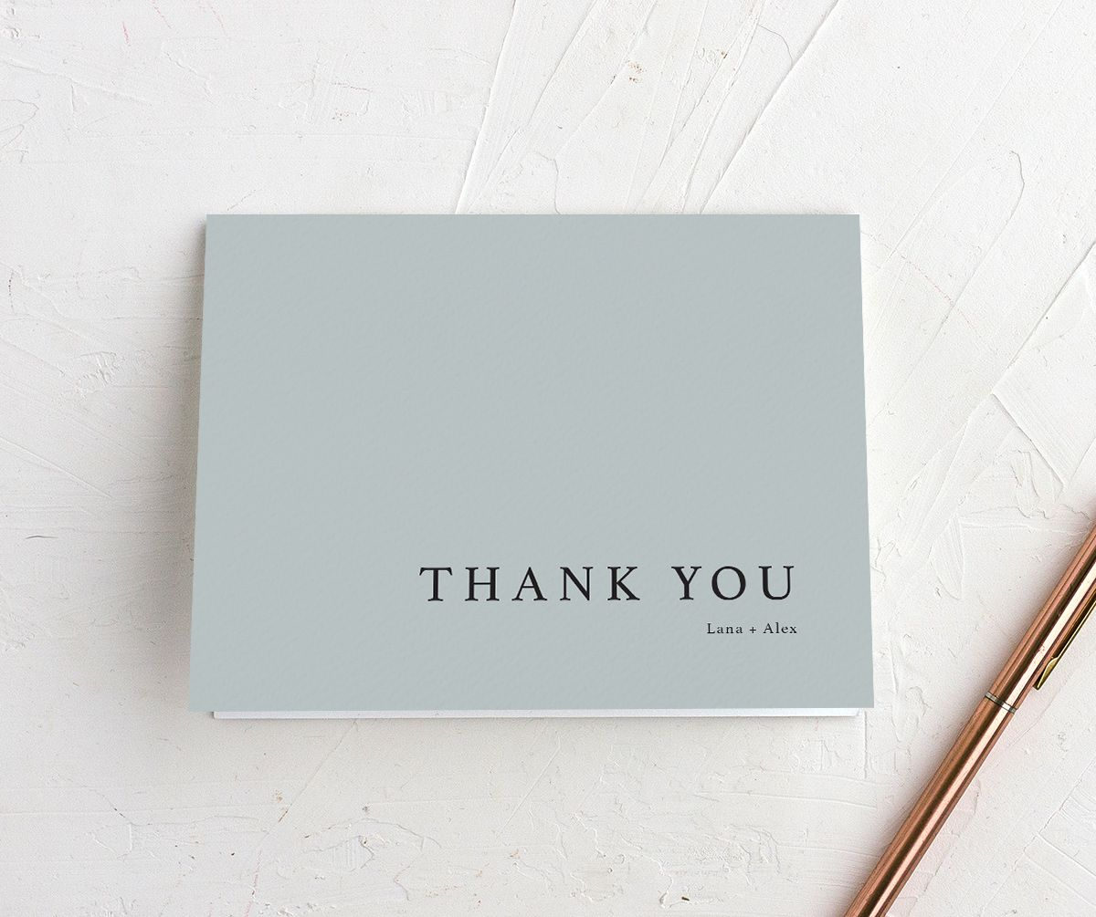 Natural Palette thank you card in blue closeup