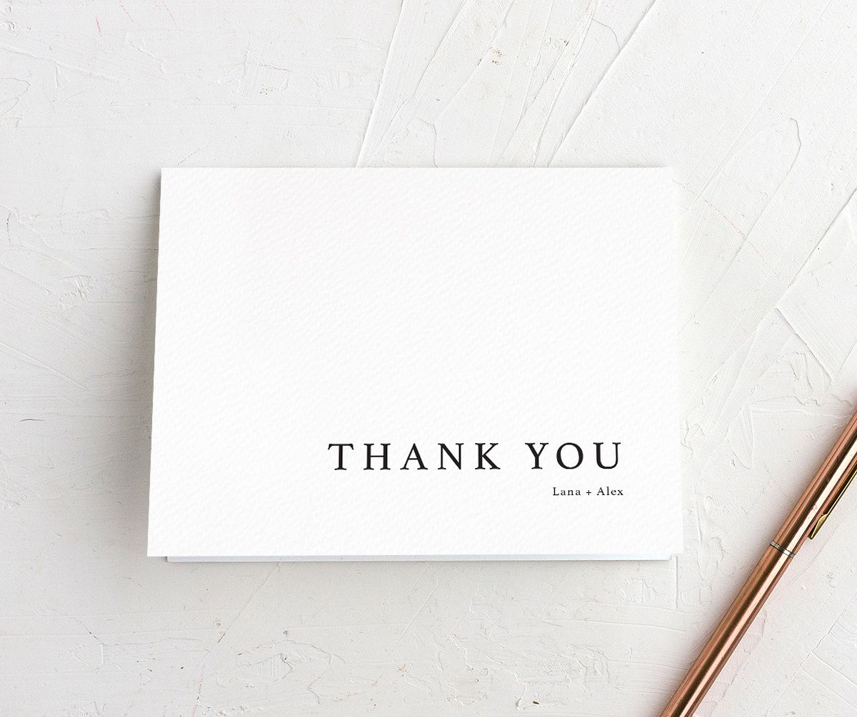 Natural Palette thank you card in white closeup
