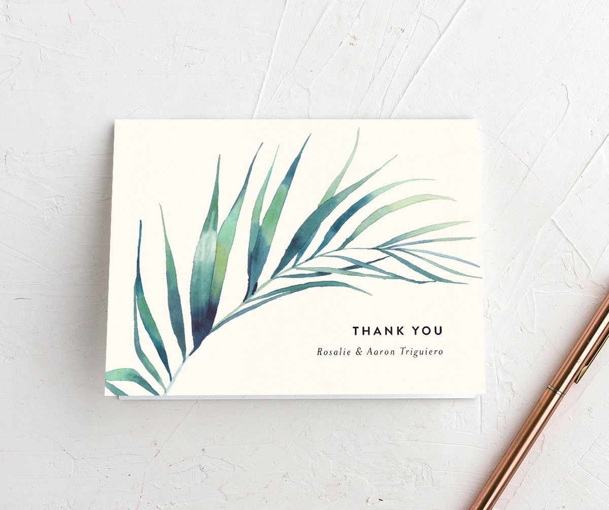 Palm and Protea Wedding Thank You cards
