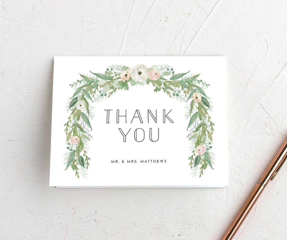 Romantic Garland folding thank you card