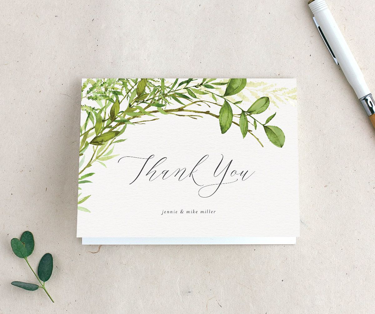 Watercolor Greenery folding thank you card
