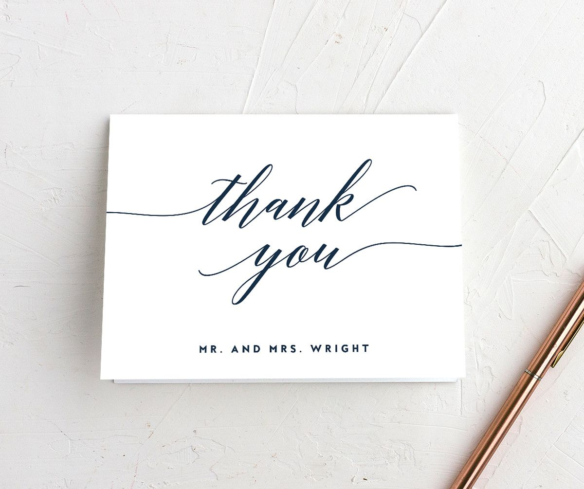 We Do Wedding folded thank you cards shown in navy