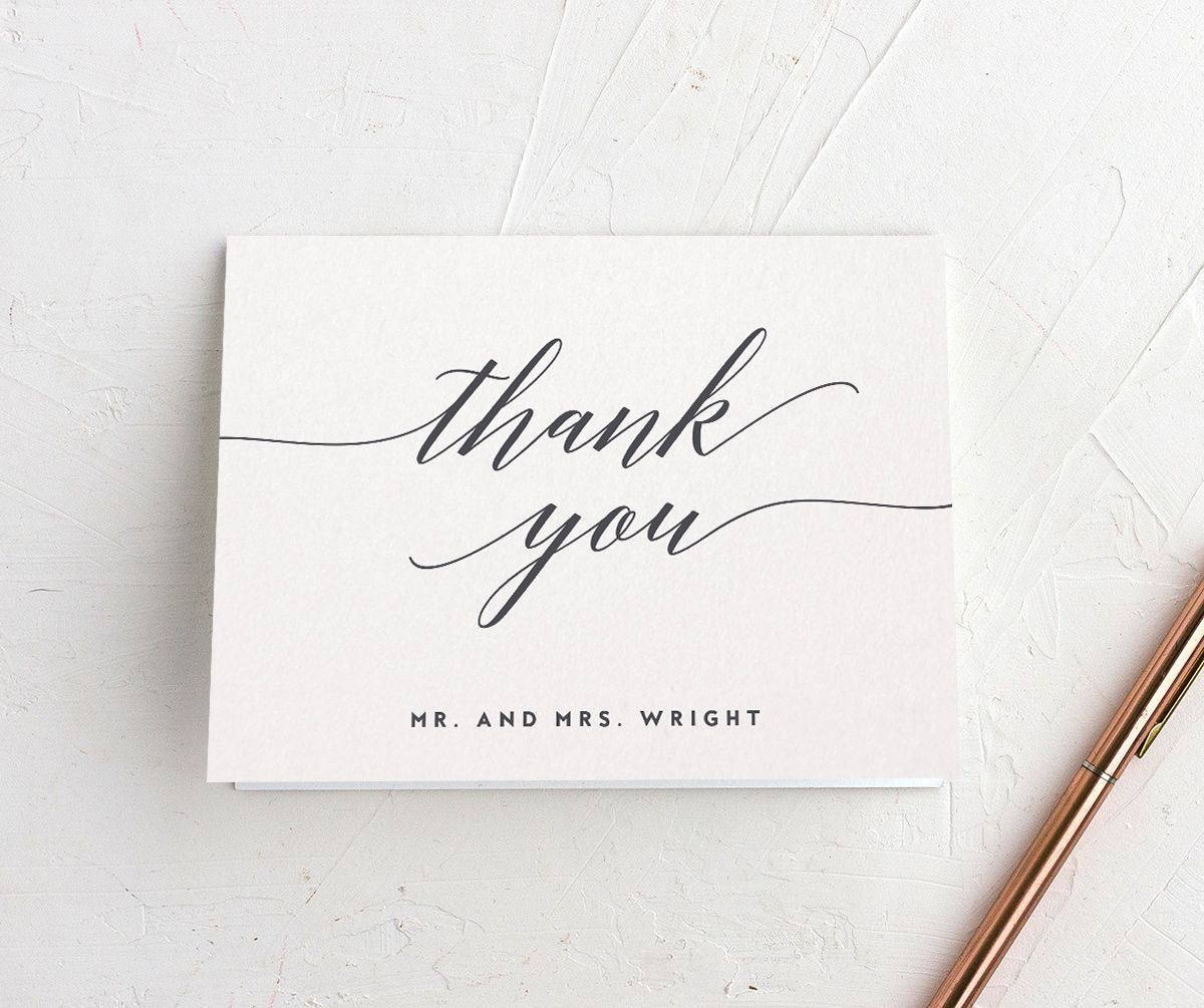 We Do Wedding folded thank you cards shown in grey