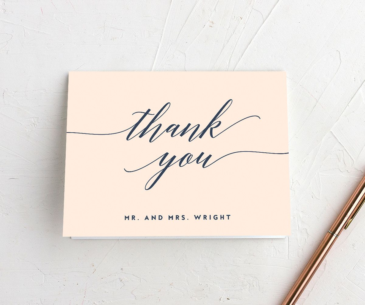 We Do Wedding folded thank you cards shown in pink