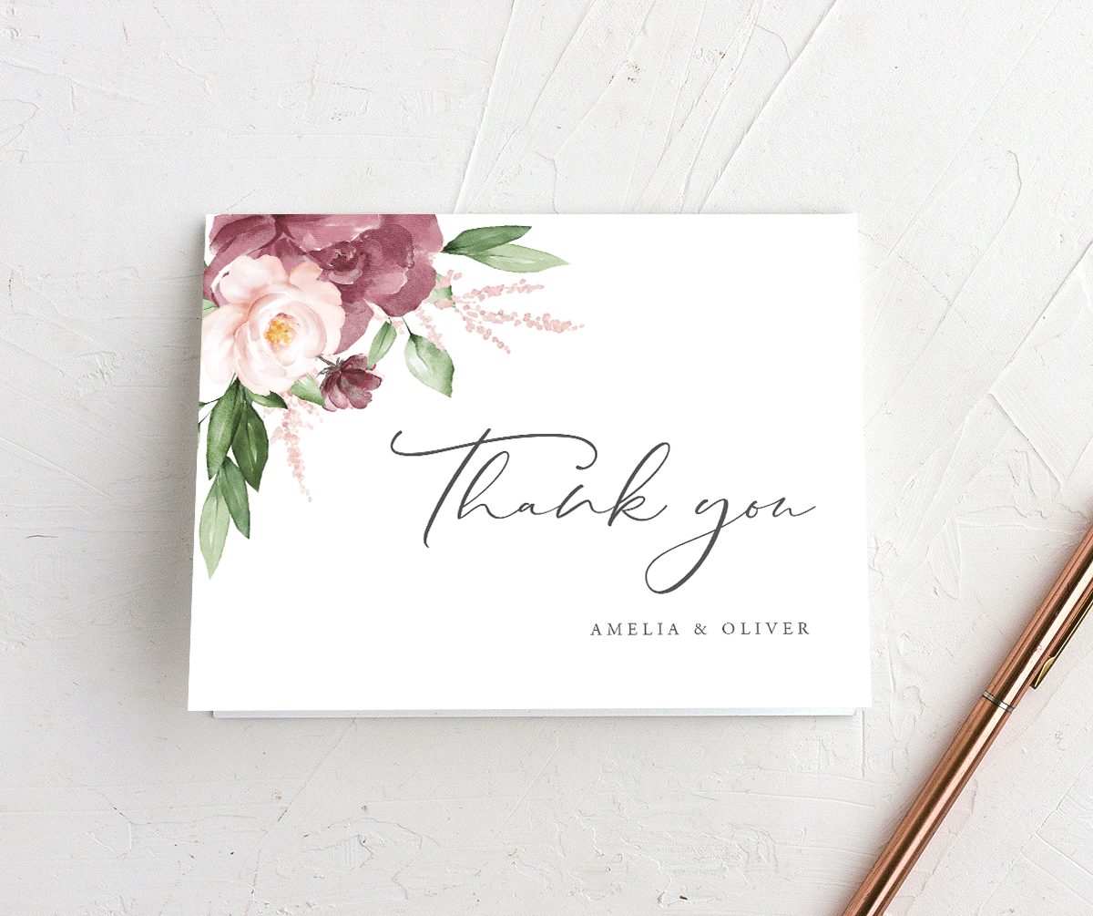 Beloved Floral Wedding Thank You Cards in purple