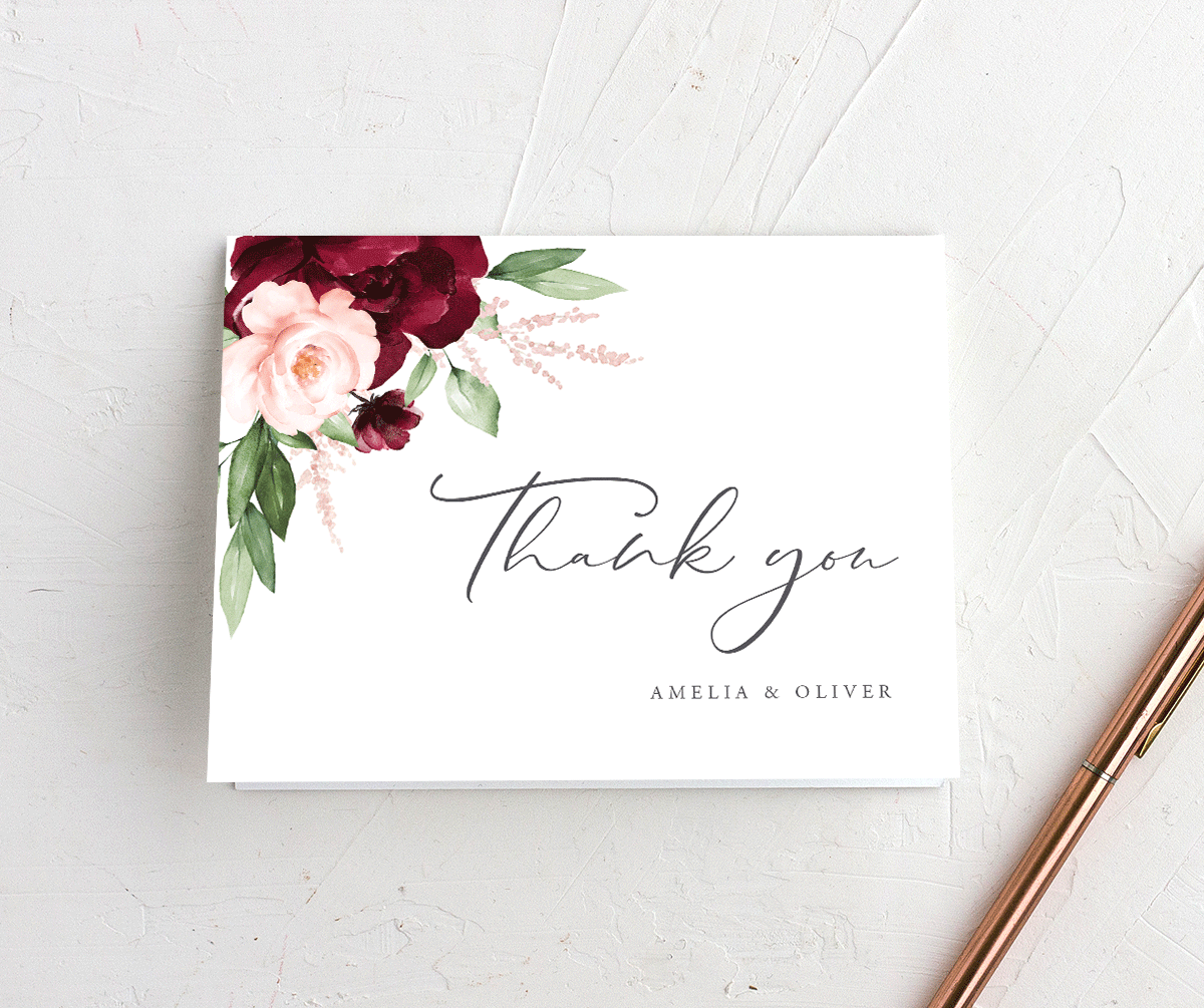 Beloved Floral Wedding Thank You Cards