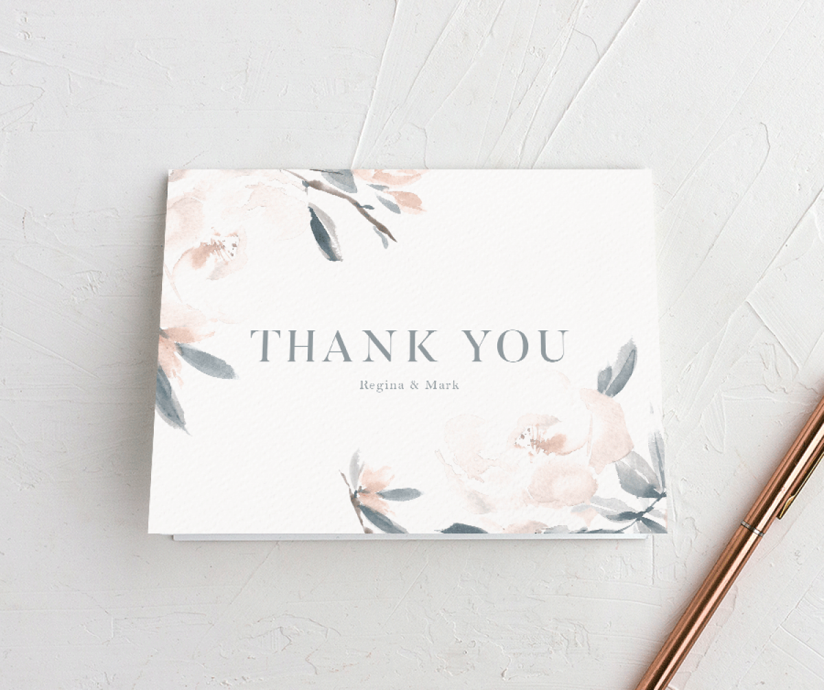 Elegant Garden wedding thank you cards in blue