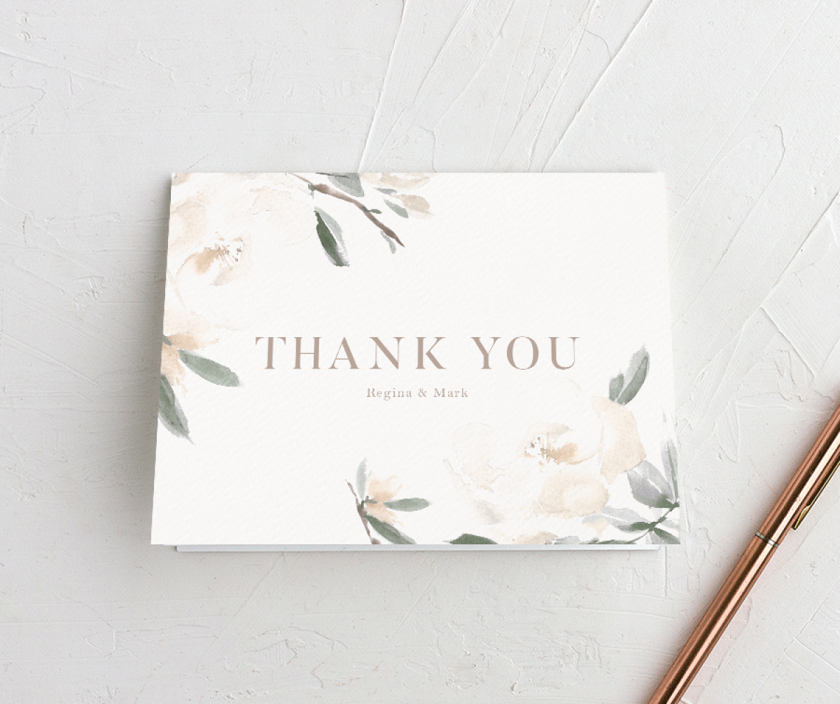 Elegant Garden wedding thank you cards in green