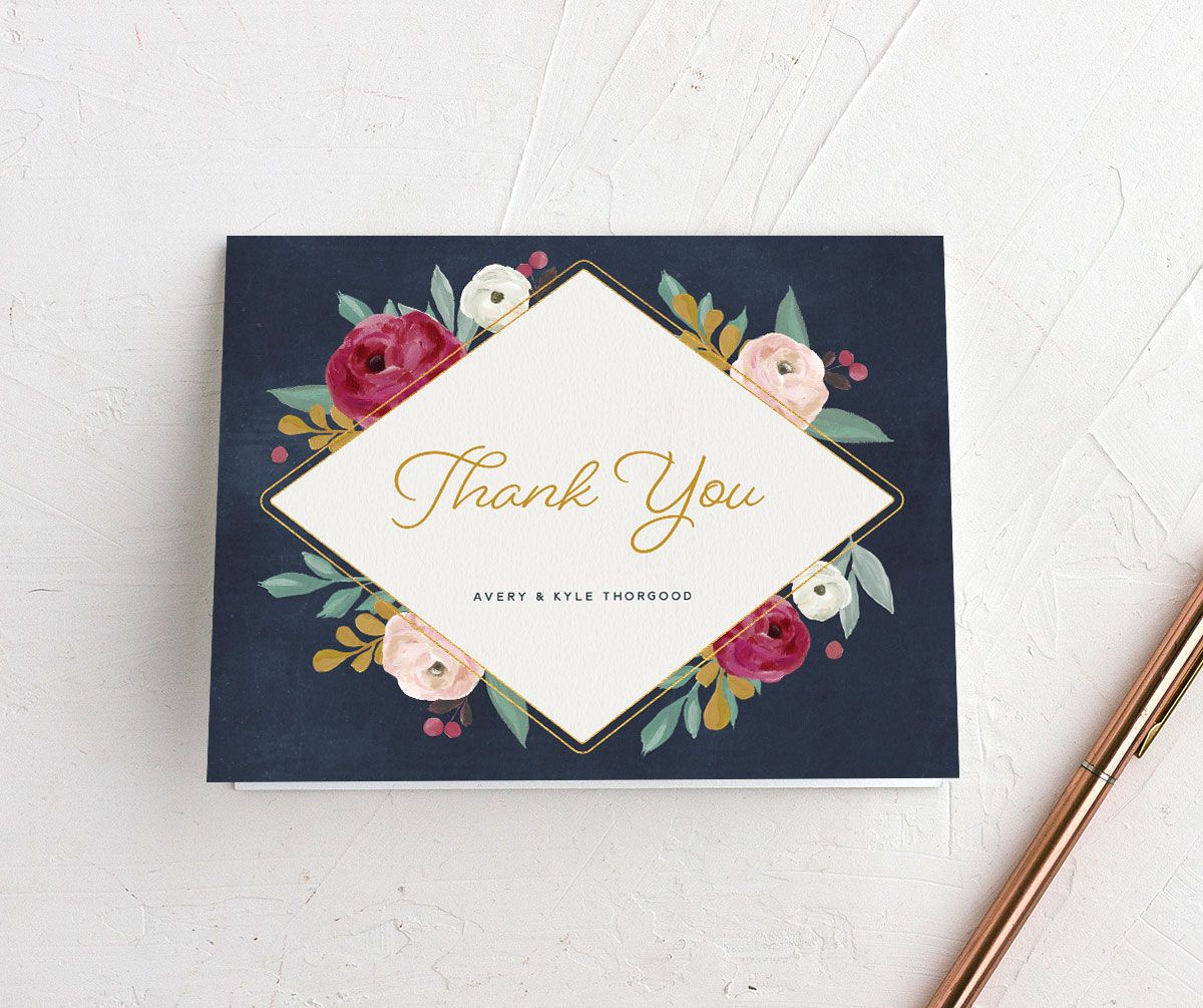 Painterly Blooms thank you card
