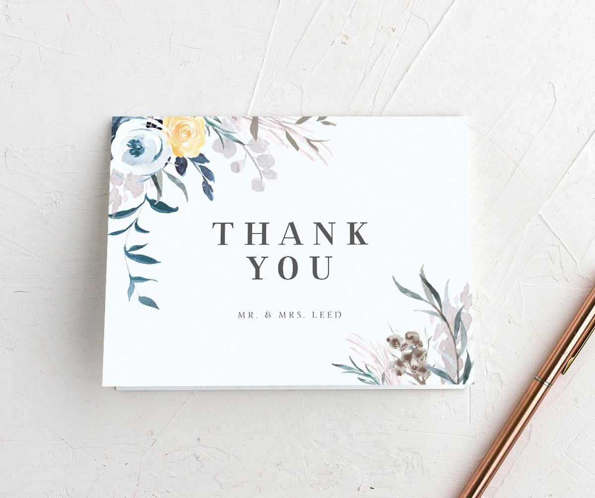 wild wreath thank you cards in blue