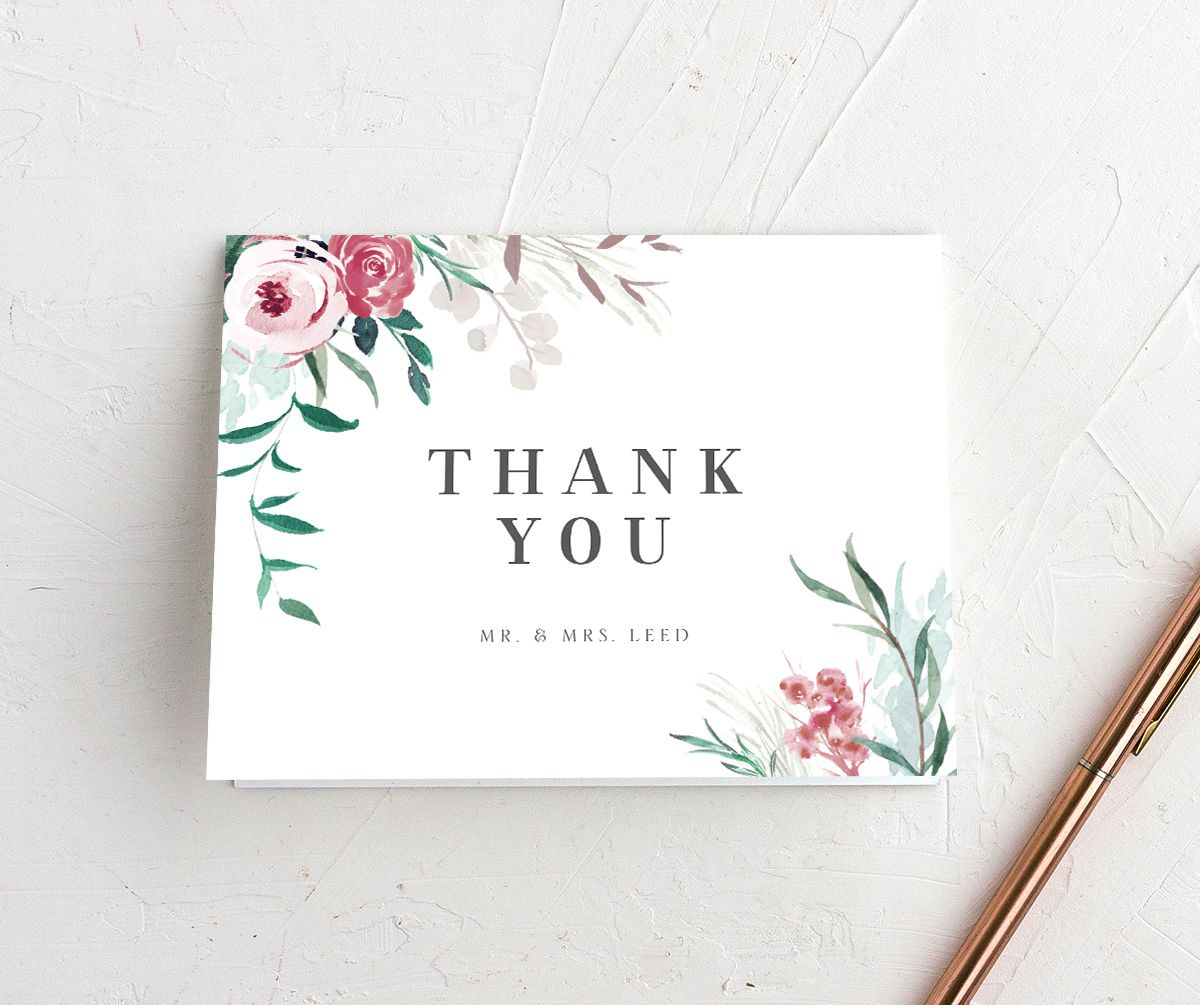 wild wreath thank you cards in green