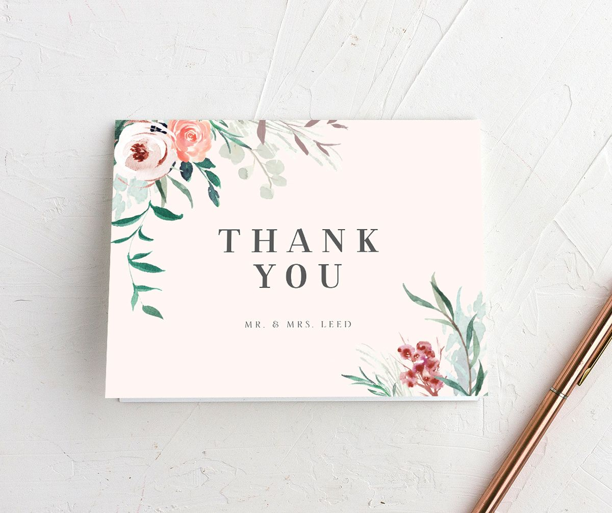 wild wreath thank you cards in pink