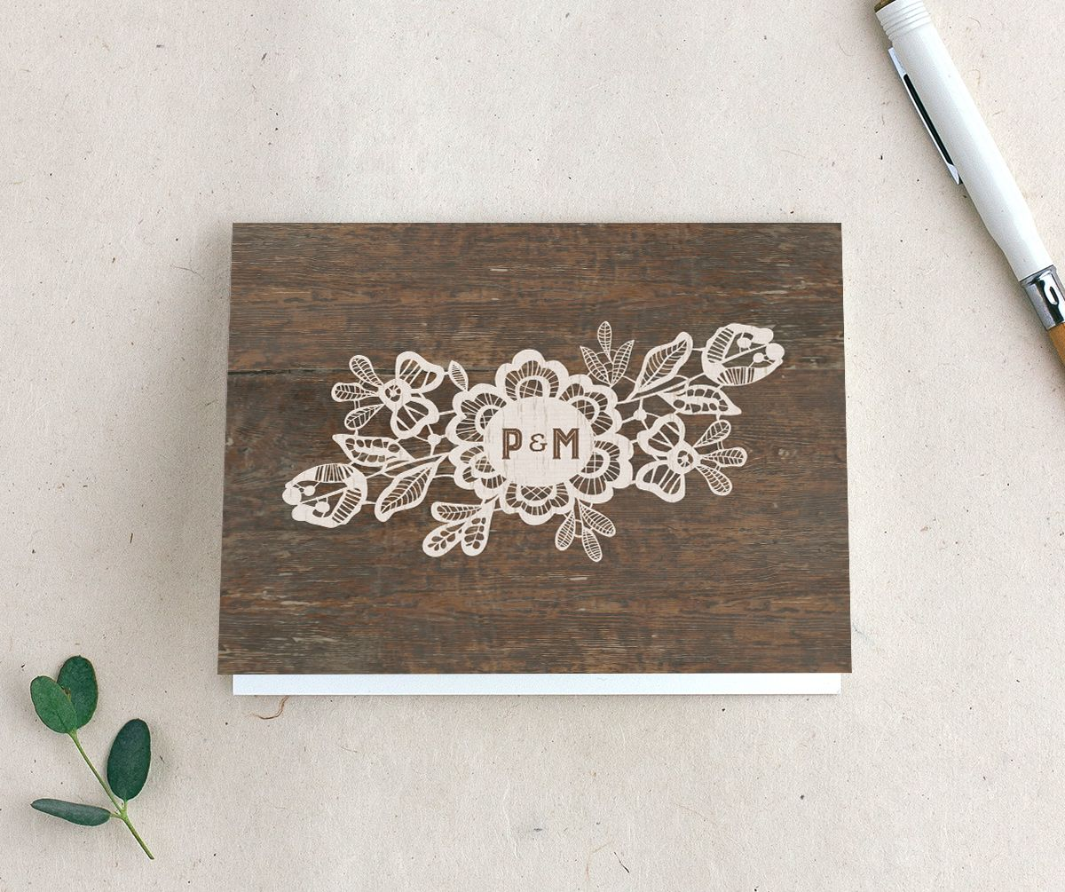 Woodgrain Lace thank you card