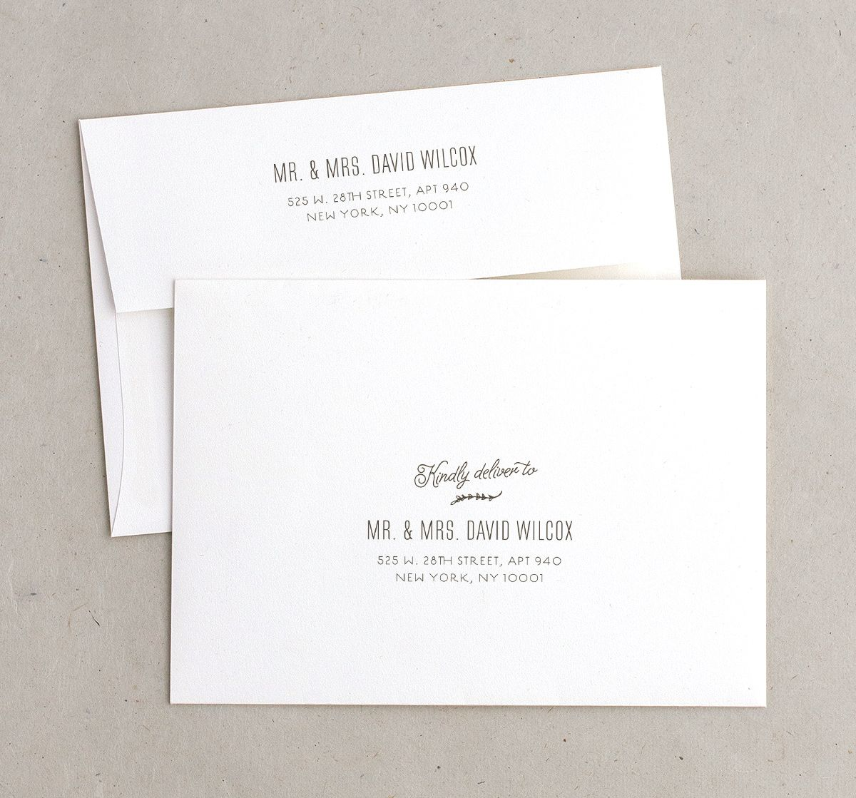 rustic chic recipient address printing envelopes in gold