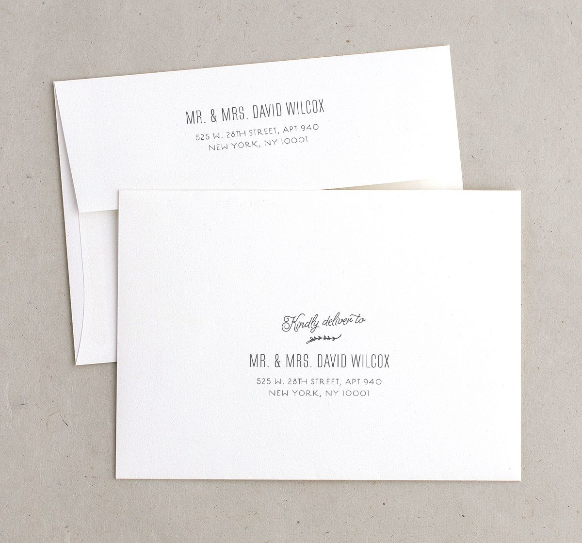 rustic chic recipient address printing envelopes in grey