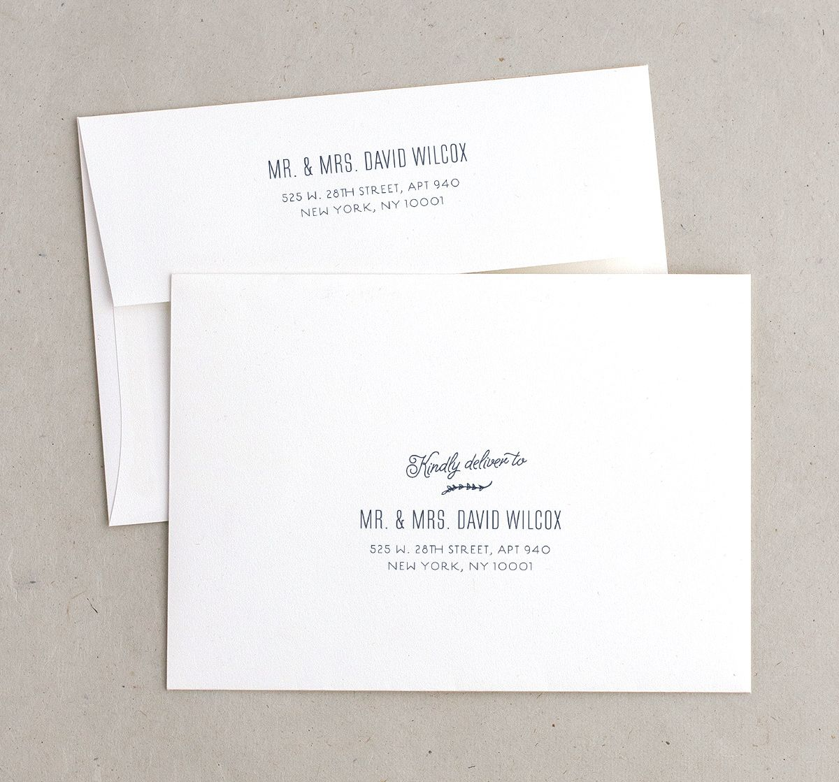 rustic chic recipient address printing envelopes in navy