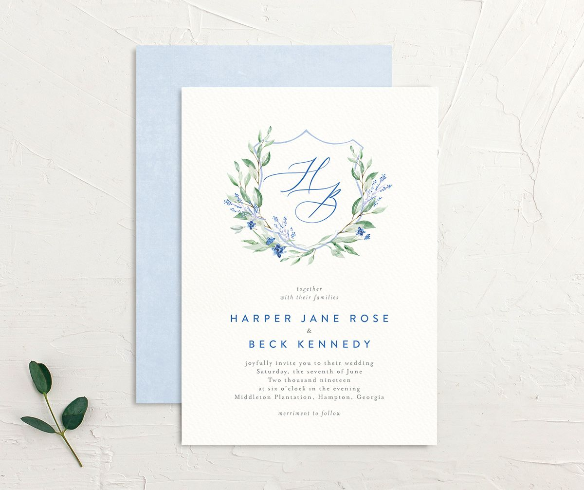 watercolor crest bridal shower invitation in blue