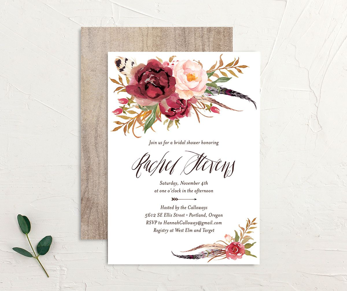 bohemian floral bridal shower invites in burgundy