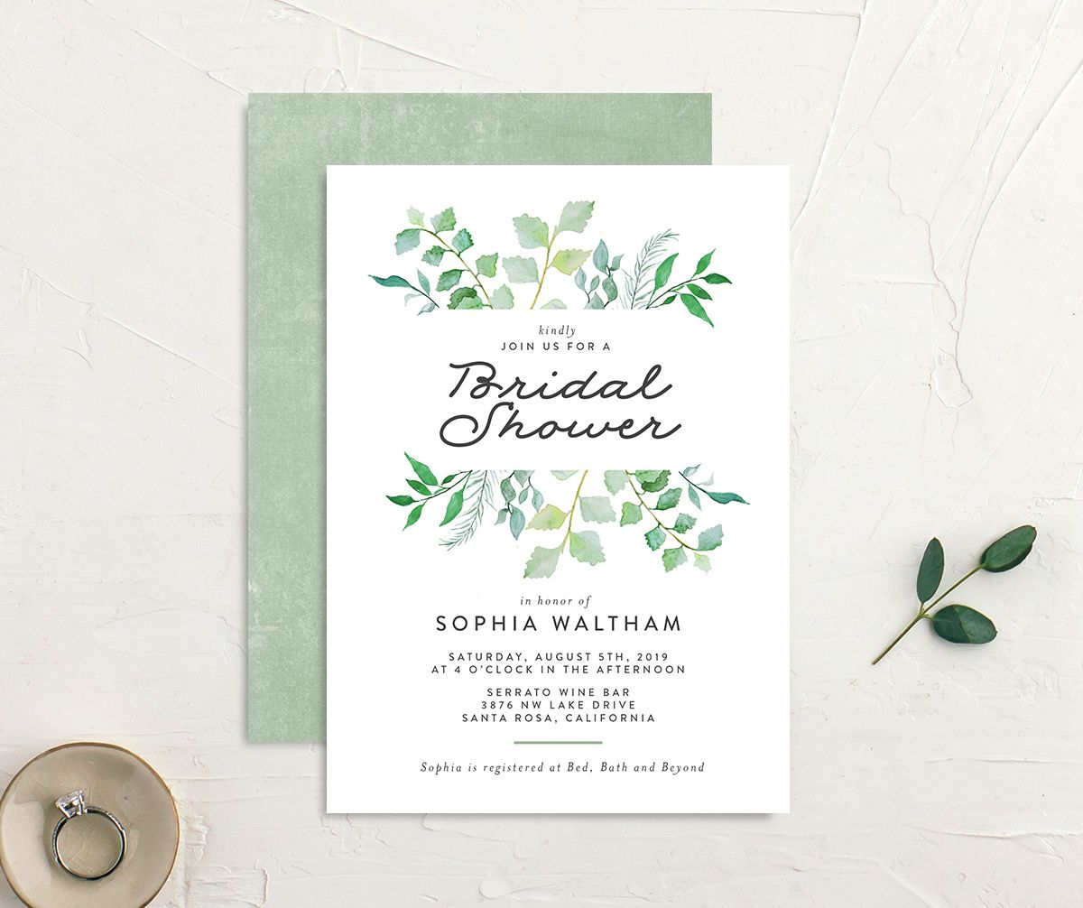 leafy ampersand bridal shower invite green
