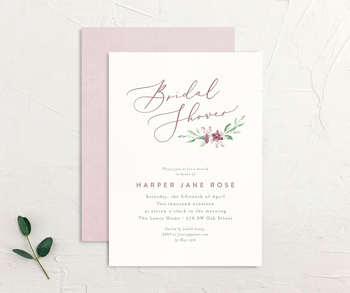 watercolor crest bridal shower invites in pink