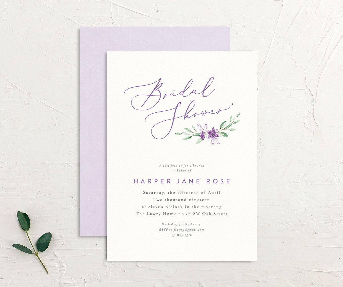 watercolor crest bridal shower invites in purple