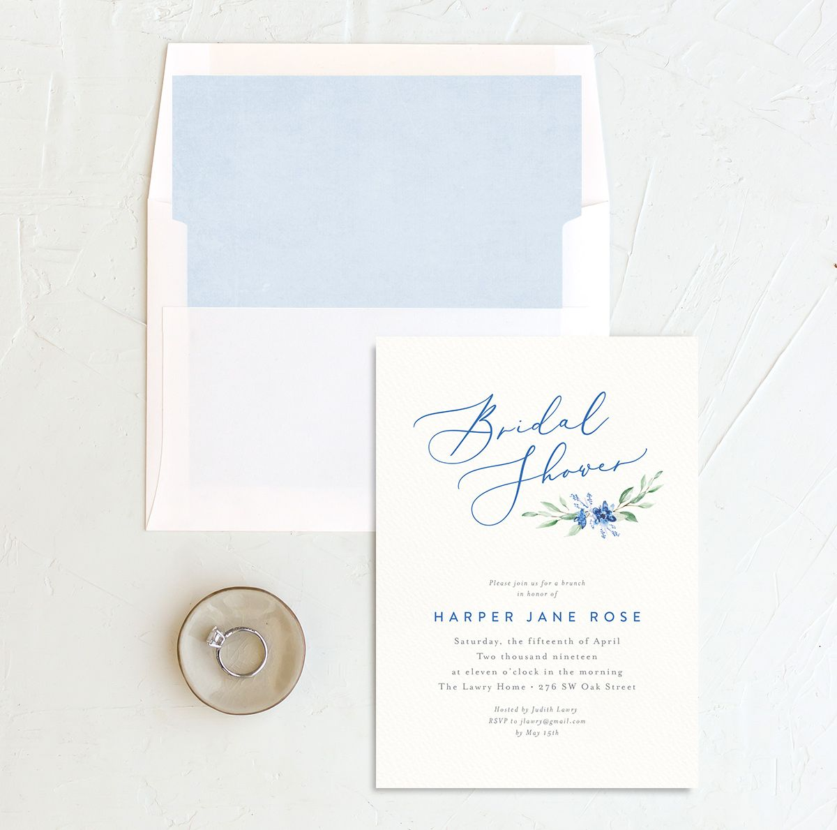 watercolor crest bridal shower invites in blue with envelope lienrs
