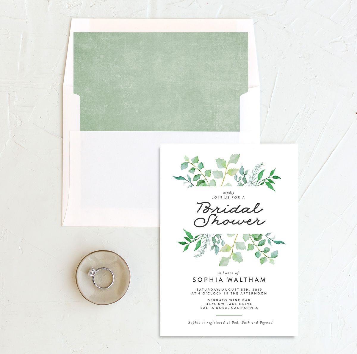 leafy ampersand bridal shower invites in green with envelope liner