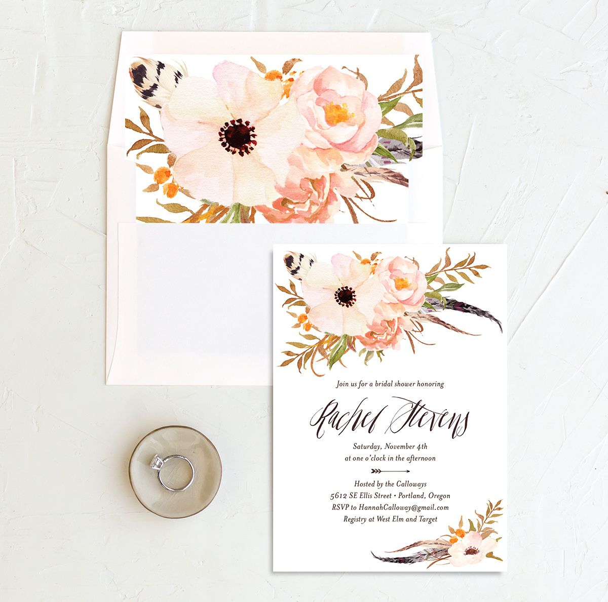 bohemian floral bridal shower invitations in peach with envelope liner