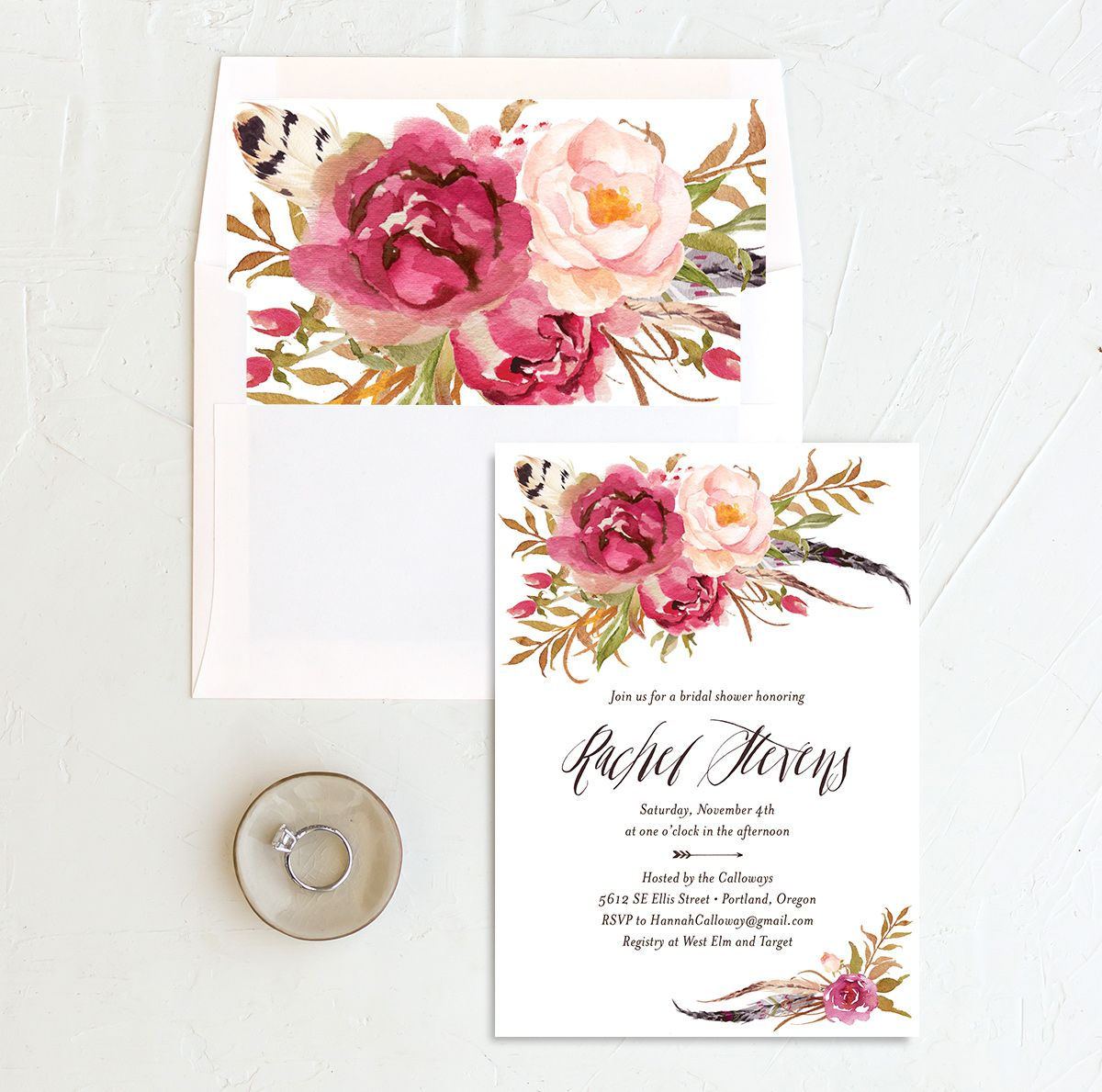 bohemian floral bridal shower invites in pink with envelope liner