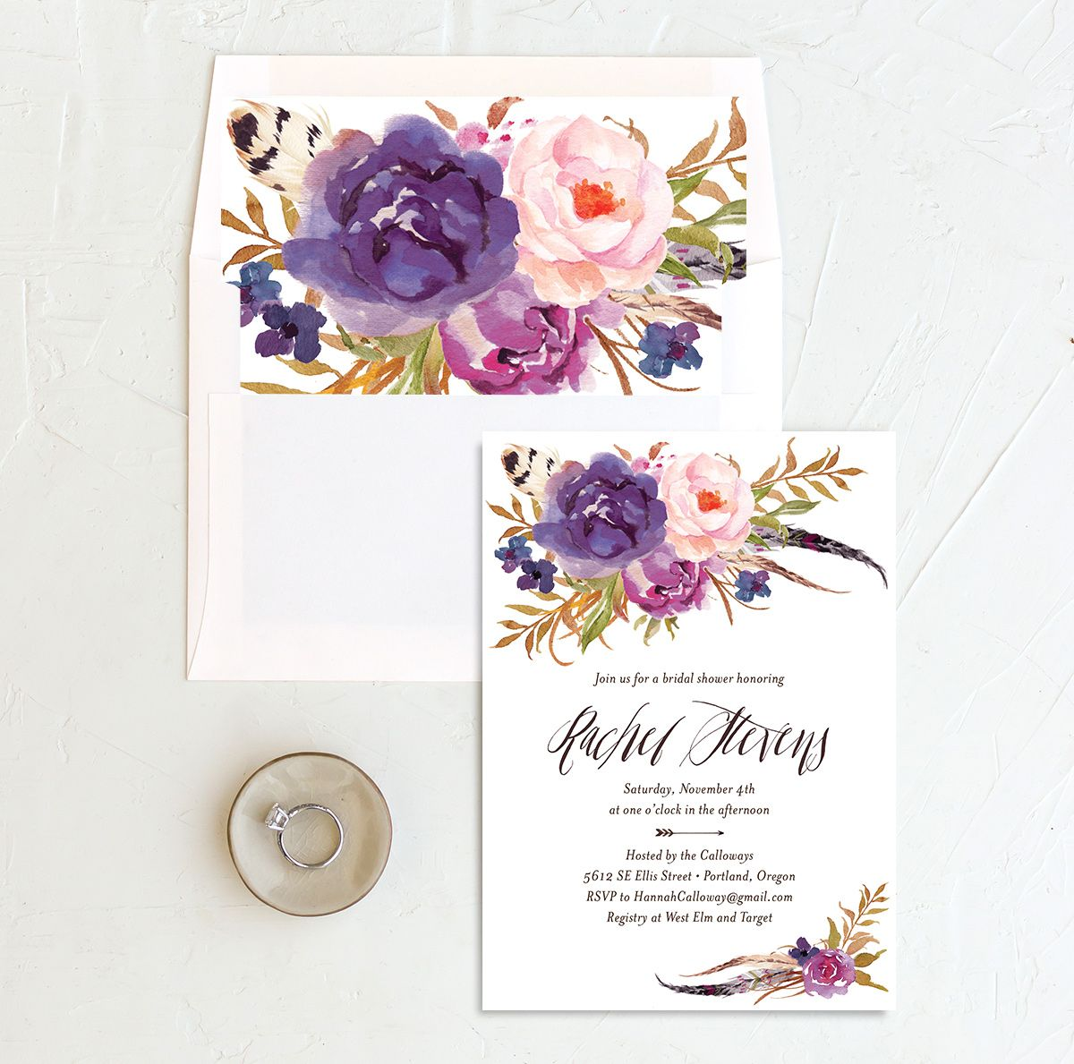 bohemian floral bridal shower invitations in purple with envelope liner