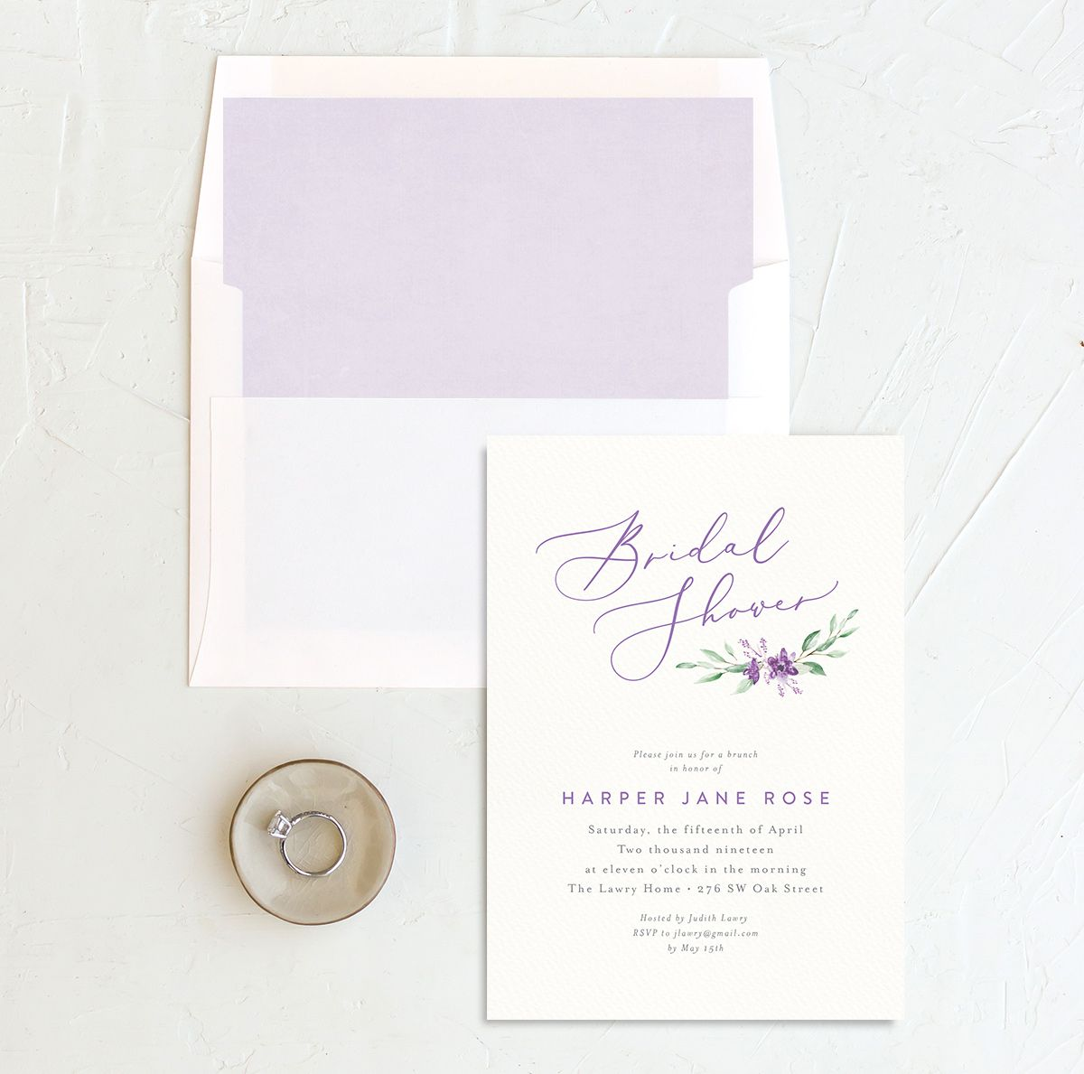 watercolor crest bridal shower invitation in purple with envelope liner