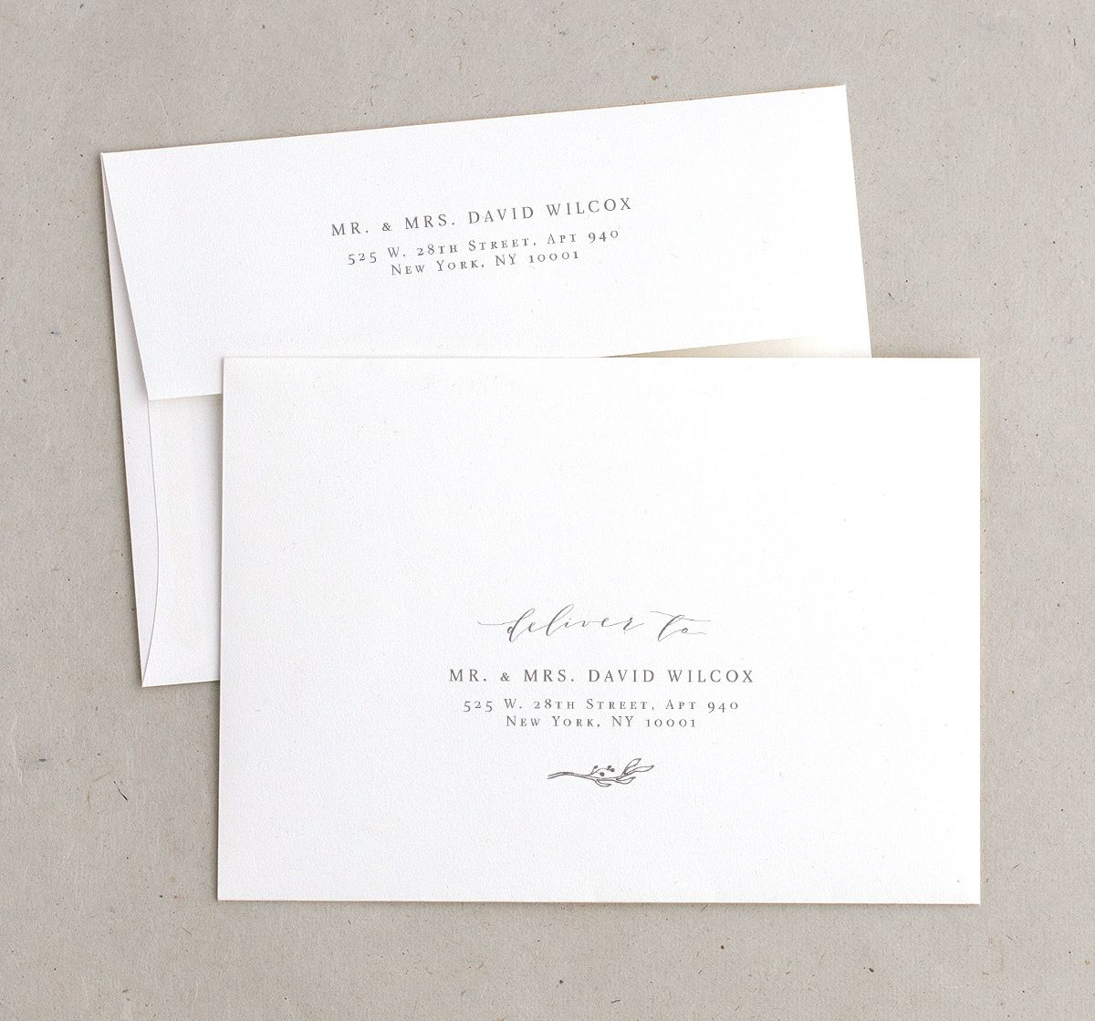 rustic elegance recipient address envelope printing
