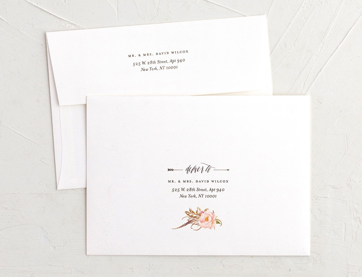 bohemian floral recipient address printing envelopes in burgundy