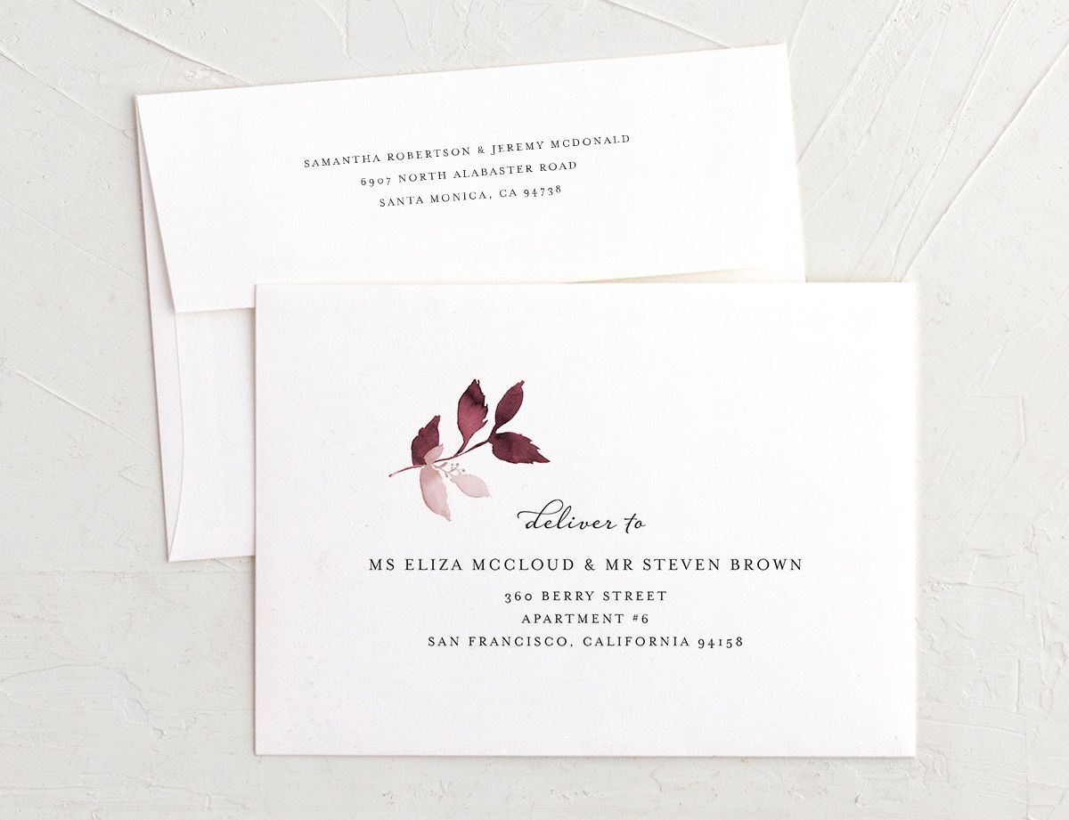 leafy frame recipient address printing envelopes in burgundy