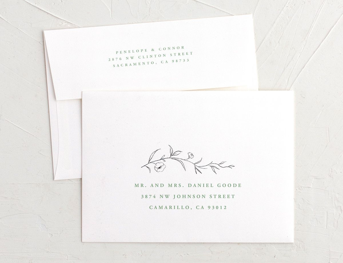 graceful botanical recipient address printing envelopes in green