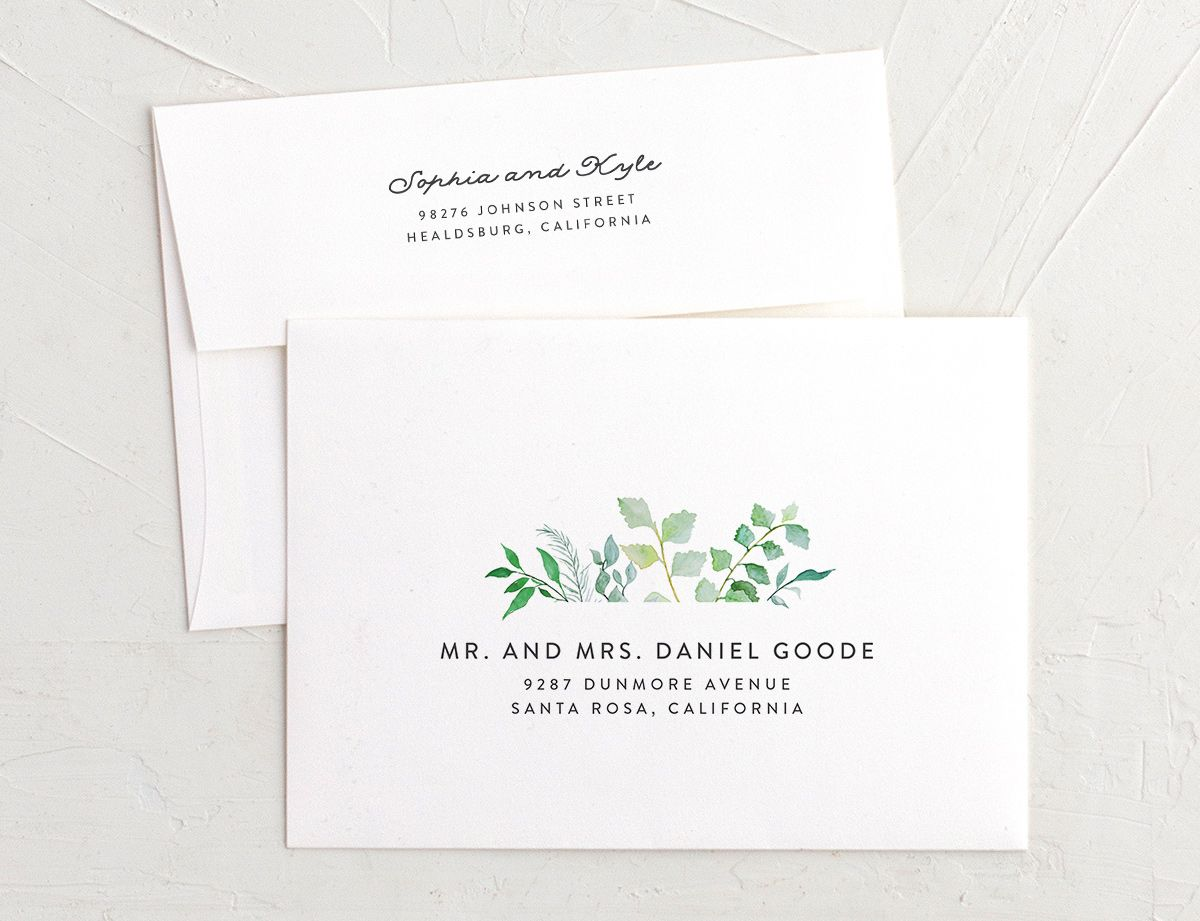 leafy ampersand recipient address envelope printing in green