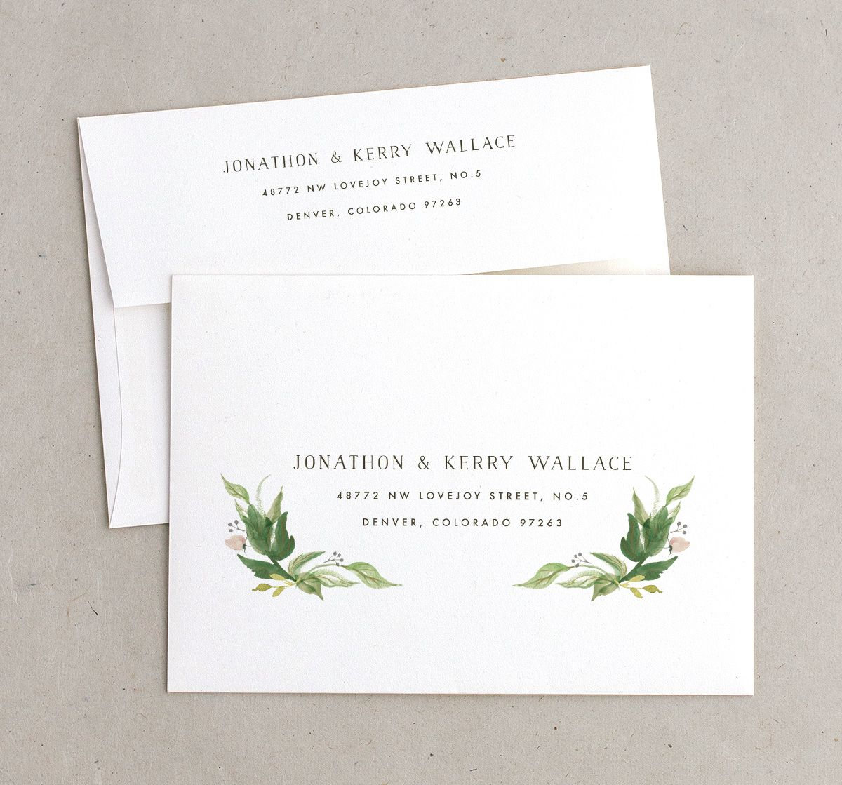 leafy wreath recipient address printing in green