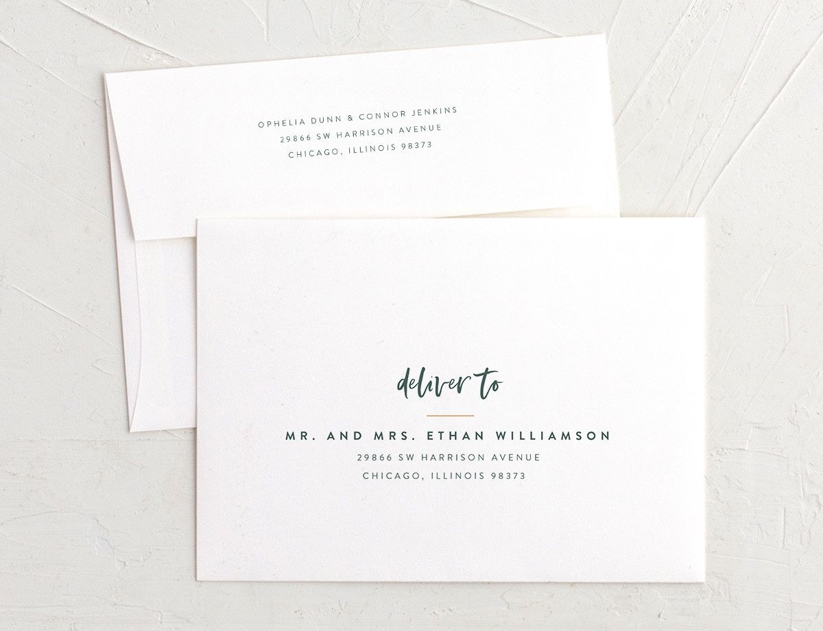 modern luxe recipient address printing envelopes in teal green