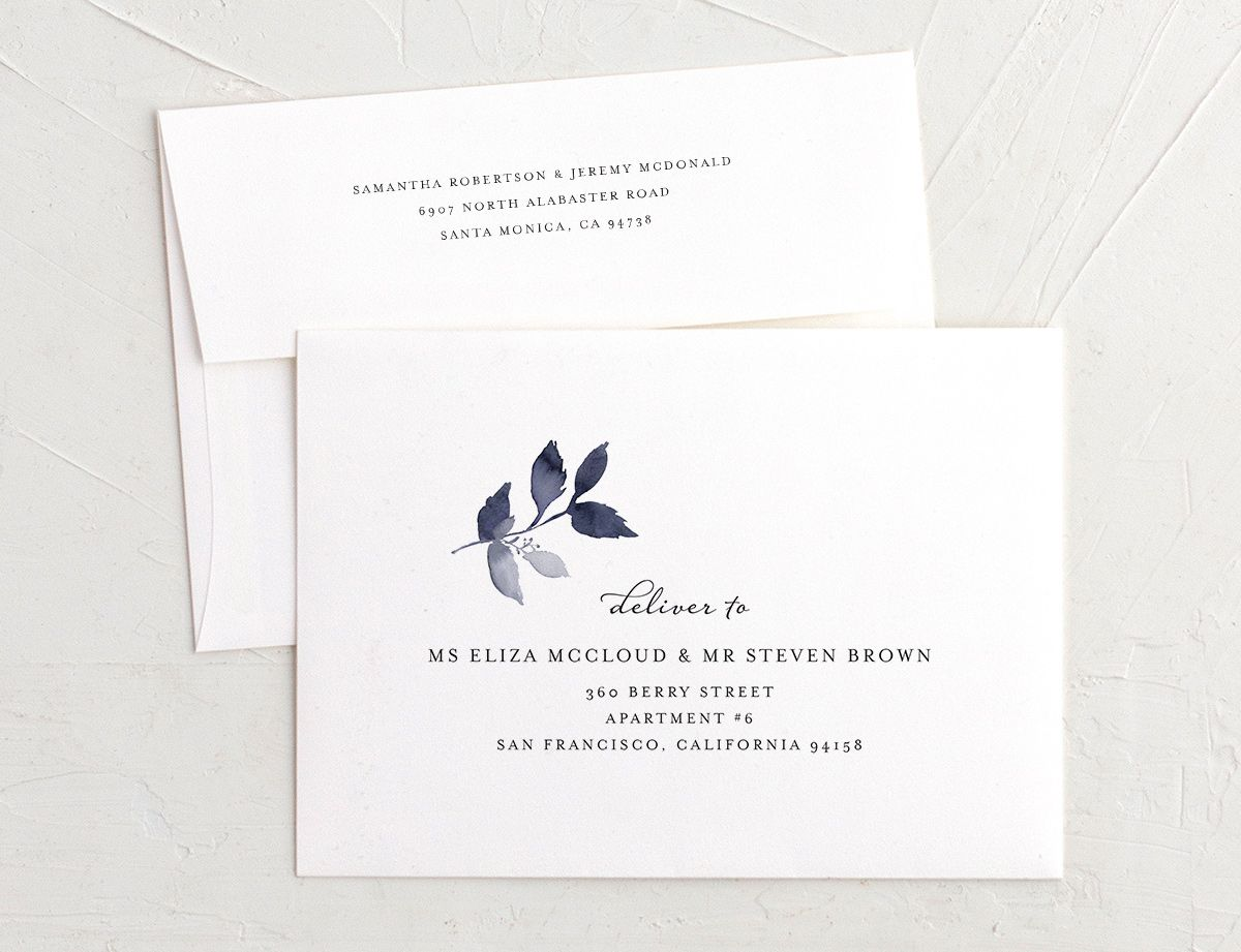leafy frame recipient address printing envelopes in navy
