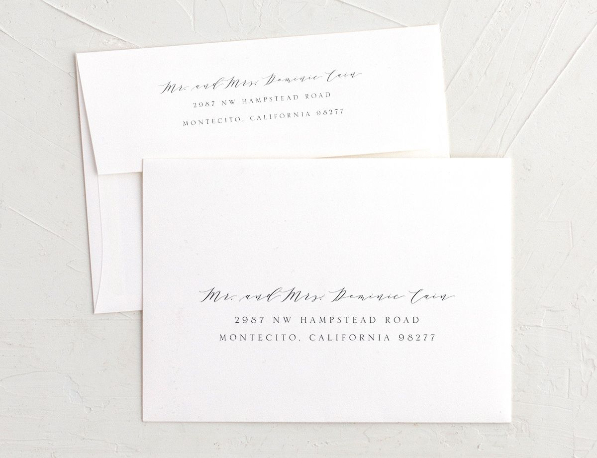 organic luxe recipient address envelope printing in blue
