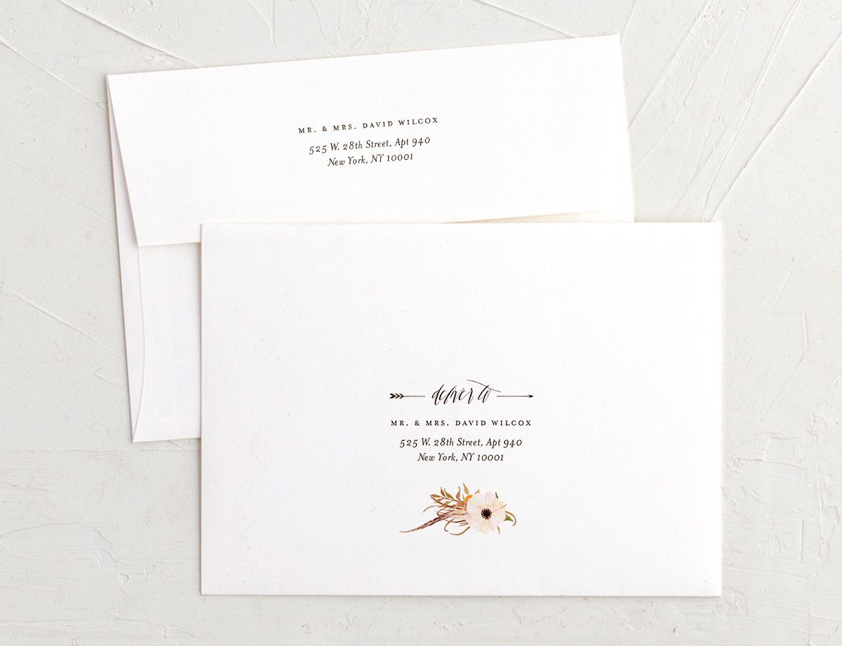 bohemian floral recipient address printing envelopes in peach