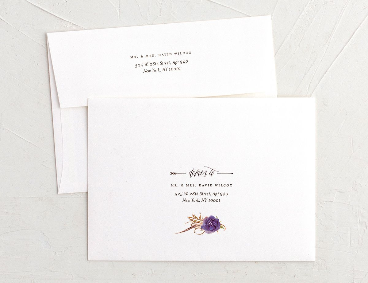 bohemian floral recipient address printing envelopes in purple